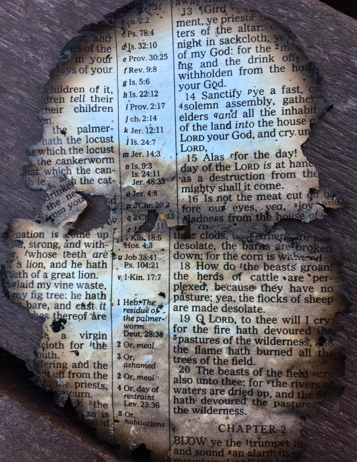 Dollywood TN Tennessee Wildfires Bible Page Burnt Joel Isaac McCord